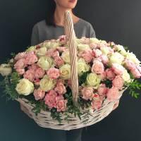 Корзина 151 роза микс белые и кустовые R272