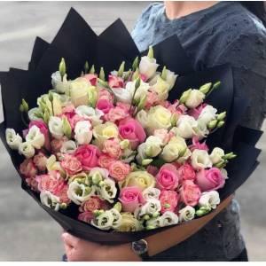 Сборный букет розы и эусмома R1115